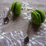 Boucles d'oreilles macarons verts anis.
